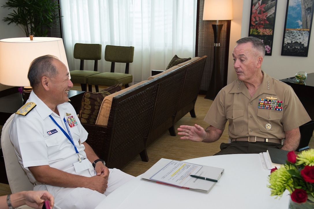 Marine Corps Gen. Joe Dunford, right, chairman of the Joint Chiefs of Staff, meets with Adm. Katsutoshi Kawano, chief of staff of Japan's Joint Staff, in Manila, the Philippines, Sept. 6, 2016. DoD photo by Army Sgt. James K. McCann