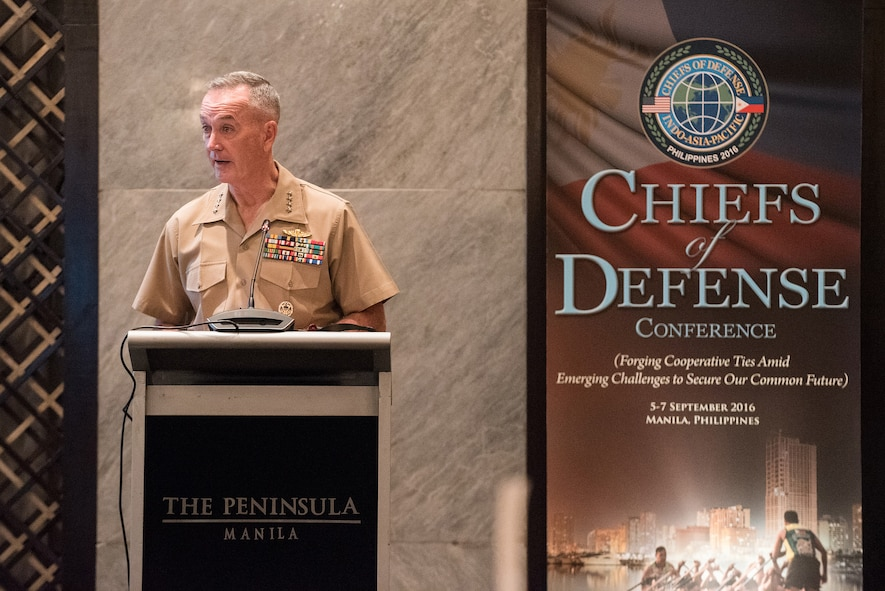 Marine Corps Gen. Joe Dunford, chairman of the Joint Chiefs of Staff, delivers opening remarks during the 2016 Chiefs of Defense Conference