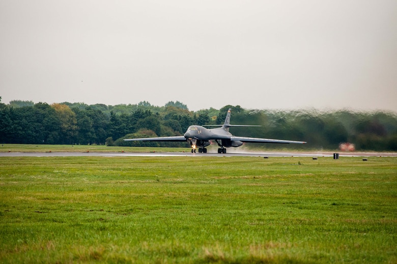 A B-1B Lancer from the 7th Bomb Wing, Dyess Air Force Base, Texas, Air Force Global Strike Command, taxis down the runway on Sep. 5, 2016 as the first day of participation in Exercise Ample Strike 2016, an annual Czech Republic-led exercise with 300 participants from 18 countries scheduled for Sept. 5-16. (U.S. Air Force photo by 1st Lt. Monique Roux/Released)