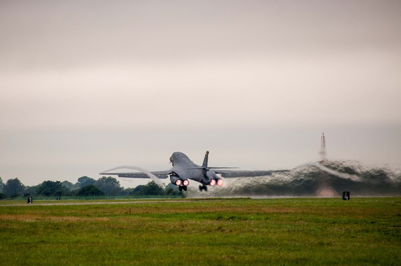 A B-1B Lancer from the 7th Bomb Wing, Dyess Air Force Base, Texas, Air Force Global Strike Command, takes to the skies on Sep. 5, 2016 as the first day of participation in Exercise Ample Strike 2016, an annual Czech Republic-led exercise with 300 participants from 18 countries scheduled for Sept. 5-16. (U.S. Air Force photo by 1st Lt. Monique Roux/Released)