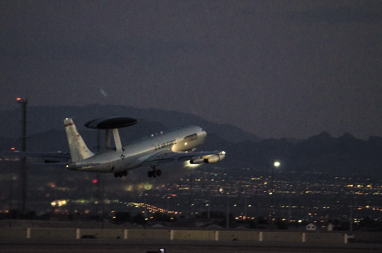 An E-3 Sentry assigned to the 965th Airborne Air Control Squadron, Tinker Air Force Base, Okla., takes off while conducting a night sortie during exercise Red Flag 16-4 at Nellis AFB, Nev., Aug. 17, 2016. The 965th AACS played a key role during the exercise by providing command and control to allied forces. (U. S. Air Force photo by Tech. Sgt. Frank Miller)
