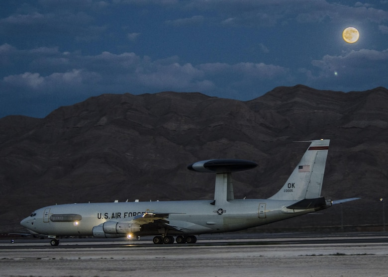An E-3 Sentry from the 965th Airborne Air Control Squadron, Tinker Air Force Base, Okla., taxis at Nellis AFB, Nev., Aug. 13, 2016. The Sentry played a vital role in suppressing enemy air defenses on the ground, air-to-air fights, and bombs dropped on targets by acting as the eyes and ears for the battle space during Red Flag 16-4. (U. S. Air Force photo by Tech. Sgt. Frank Miller)