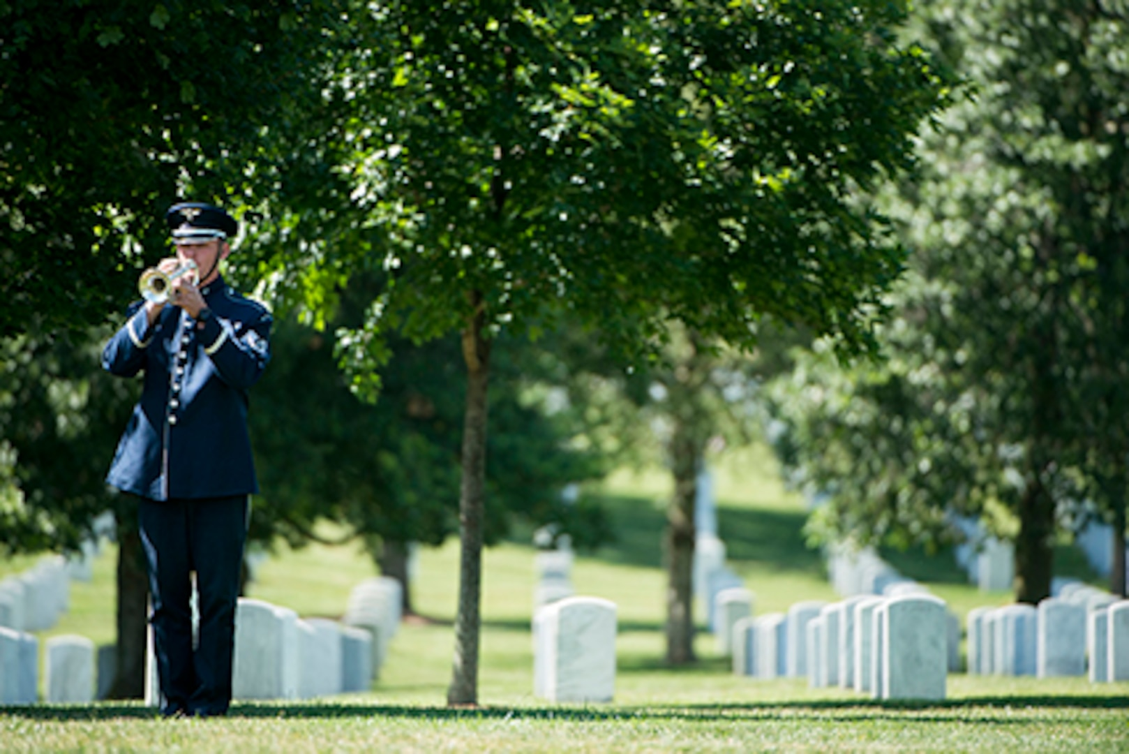 """A bugler with the U.S. Air Force plays Taps during the graveside service for 2nd. Lt. Malvin Greston """"Marvelous Mal"""" Whitfield in Section 8 of Arlington National Cemetery, June 8, 2016, in Arlington, Va. Whitfield was a five-time Olympic medalist and a Tuskegee Airman."""