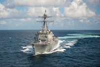 PASCAGOULA, Miss.  (August 29, 2016) The future USS John Finn (DDG 113) is underway for three days for initial builder's sea trials. John Finn is the 63rd Arleigh Burke-class destroyer and the first of the Arleigh Burke-class Flight IIA restart ships.