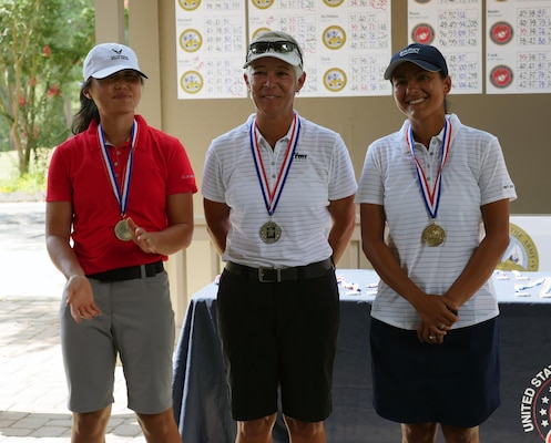 Top women golfers of the 2016 Armed Forces Golf Championship at Fort Jackson, S.C. 20-23 August.  From left to right:  Bronze medalist Air Force 1st Lt Deborah Kim of Wright-Patterson AFB, Ohio; Silver medalist Army Col. Shauna Synder of Falls Church, Va.; and 2016 Champion, Navy Petty Officer 3rd Class Maggie Ramirez of NAS Coronado, Calif.