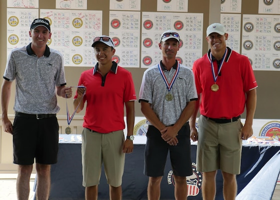 Top men golfers of the 2016 Armed Forces Golf Championship at Fort Jackson, S.C. 20-23 August.  From left to right:  Bronze medalists (tied) Army Capt Ryan Allred of West Point, N.Y. and Air Force 1st Lt Miguel Macias of Wright-Patterson AFB, Ohio; Silver medalist Army Chief Warrant Officer 3 Brian King of Fort Rucker, Ala.; and 2016 Champion, Air Force 1st Lt. Kyle Westmoreland of Charleston AFB, SC