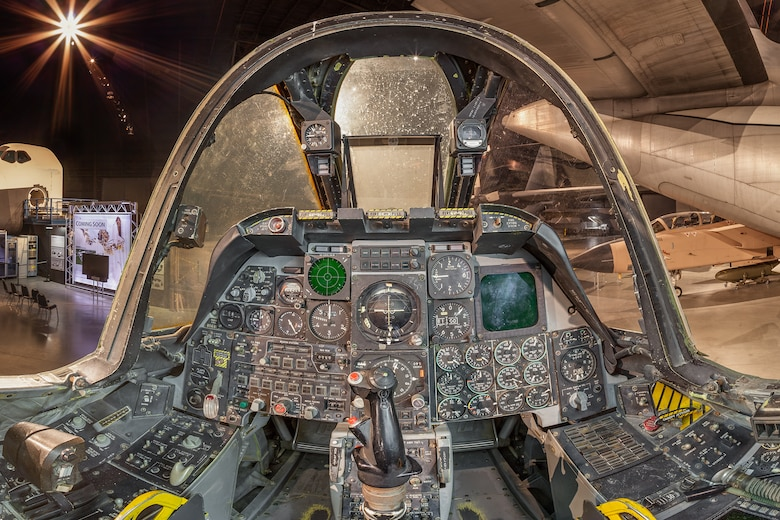 DAYTON, Ohio -- Fairchild Republic A-10A Thunderbolt II cockpit view in the Cold War Gallery at the National Museum of the United States Air Force.(Photo courtesy of Lyle Jansma, Aerocapture Images)