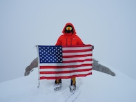 Capt. Stephen Austria, project engineer in the USACE-Alaska District's Foreign Military Sales Program, carried this American flag on his expedition climbing Denali this past summer. The flag was with Austria on every mission while deployed to Iraq. He said he hopes his climb helps raise Soldier suicide awareness.
