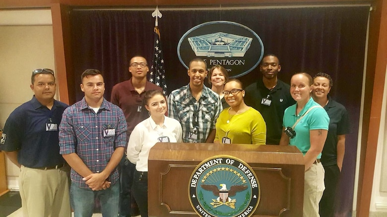 Members of the 436th Logistics Readiness Squadron gather Aug. 23, 2016 at the Pentagon, Arlington, VA. Ten members of the squadron coordinated a tour of the facility with the hopes to gain a better understanding of how the military operates. (Courtesy photo)