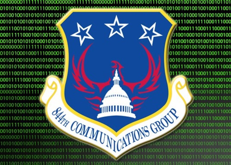 The 844th Communications Group provides cyber operations, executive support, and contingency response to Airmen throughout the NCR, including the Air Force District of Washington (AFDW), and a variety of DoD agencies globally. (U.S. Air Force graphic/Tech. Sgt. Matt Davis)