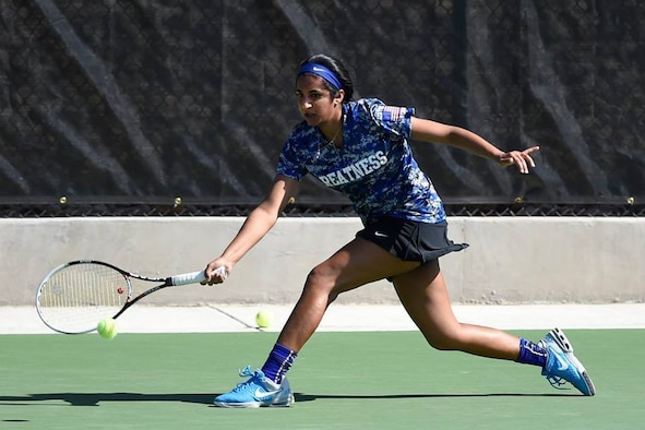Then-Cadet Natasha Rizvi returns a shot during a tennis match at the U.S. Air Force Academy during her senior year in 2015. Rizvi, a cost analyst for the C3I and Networks Directorate, was recently selected to represent the Air Force at the 2016 Headquarters Allied Air Command Tennis Championship at Decimomannu Air Base, on the Italian island of Sardinia. (Courtesy photo)