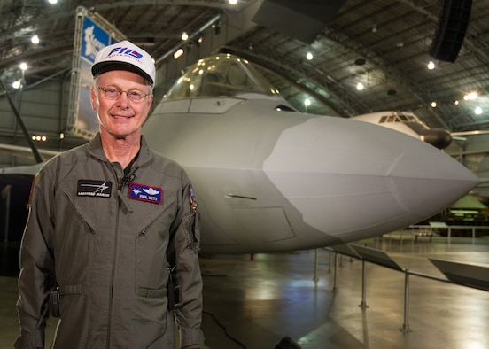 DAYTON, Ohio -- (Dec. 2015) Lockheed Martin test pilot Paul Metz standing in front of the F-22 that he flight tested in 1997. This aircraft is on display at the National Museum of the U.S. Air Force. (U.S. Air Force photo by Ken LaRock)