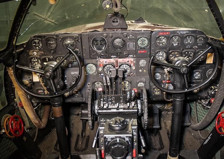 DAYTON, Ohio -- Curtiss C-46D Commando cockpit view in the WWII Gallery at the National Museum of the United States Air Force.(U.S. Air Force photo)