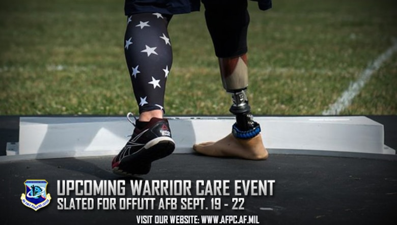 The Air Force Wounded Warrior program is hosting a Warrior CARE event at Offutt Air Force Base, Nebraska, in September. AFW2 provides personalized service and support and advocacy for the needs of seriously wounded, ill and injured Air Force men and women. (U.S. Air Force graphic by Staff Sgt. Alexx Pons)