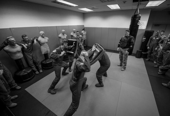 U.S. Air Force C-130J aircrew members practice combative techniques June 21, 2016, at Little Rock Air Force Base, Ark. C-130J pilots and loadmasters routinely undergo resistance and escape tactics in case they find themselves in hostile areas. (U.S. Air Force photo by Senior Airman Harry Brexel)