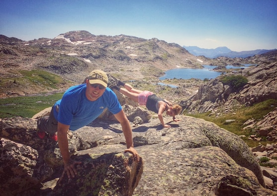 U.S. Air Force Chief Master Sgt. Dean Werner, the Air Force Civil Engineer Center Emergency Management program manager, takes part in a pushup challenge while climbing Granite Peak in Montana, Aug. 30, 2016. (Courtesy photo)