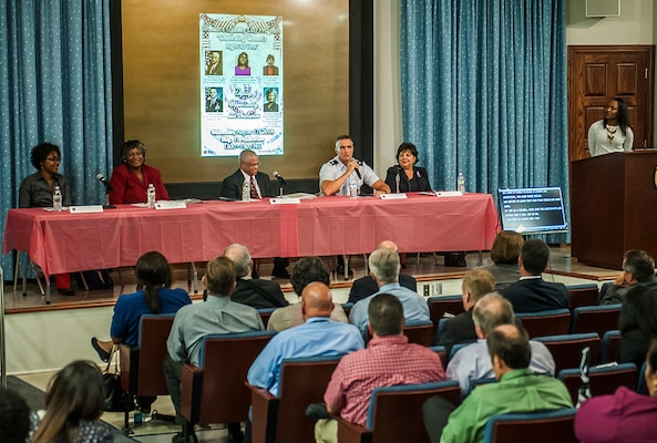 Panelists answer questions at DSCC's Women's Equality Day Aug. 17.