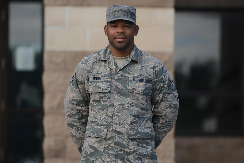 Senior Airman Steven Odom, 47th Force Support Squadron management apprentice, stands in front of the FSS building on Laughlin Air Force Base, Texas, Aug. 31, 2016. Odom was chosen by wing leadership to be this week's XLer. (U.S. Air Force photo/Airman 1st Class Brandon May)