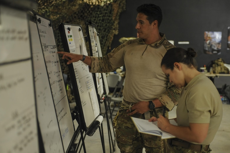 A U.S. Air Force Guardian Angel formal training unit instructor and support personnel plan for a mission during Combat Leaders Course training in Florence, Ariz., Aug. 30, 2016. Guardian Angel is comprised of combat rescue officers, pararescuemen, survival, evasion, resistance, and escape specialists and special trained support personnel dedicated to one of the Air Force's primary functions of personnel recovery and combat search and rescue. (U.S. Air Force photo by Airman 1st Class Mya M. Crosby)