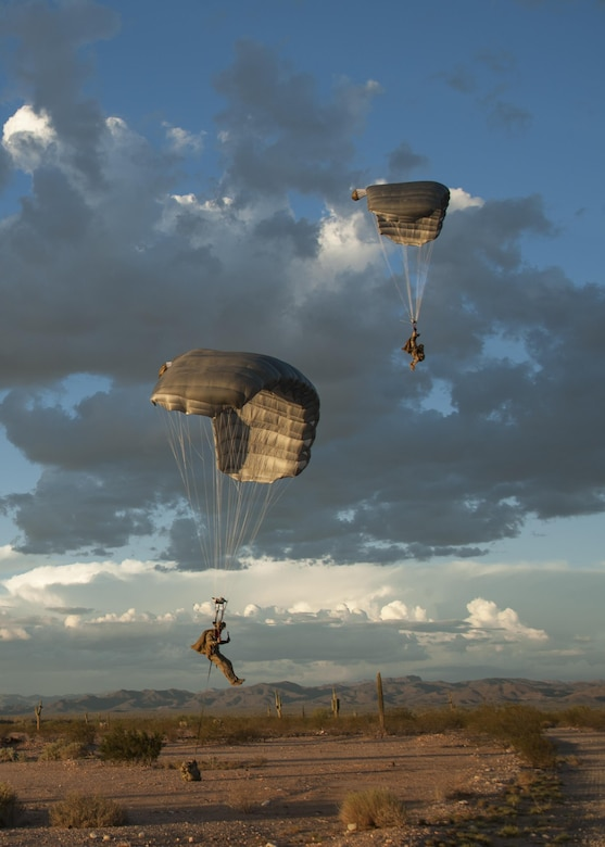 Combat Leaders Course students prepare to land during training in Florence, Ariz., Aug. 31, 2016. The students participated in scenarios including a jump mission with an overland movement, a mass casualty and a technical rescue with the rotary wing exfiltration all within the climates of southern Arizona and California. (U.S. Air Force photo by Airman 1st Class Mya M. Crosby)