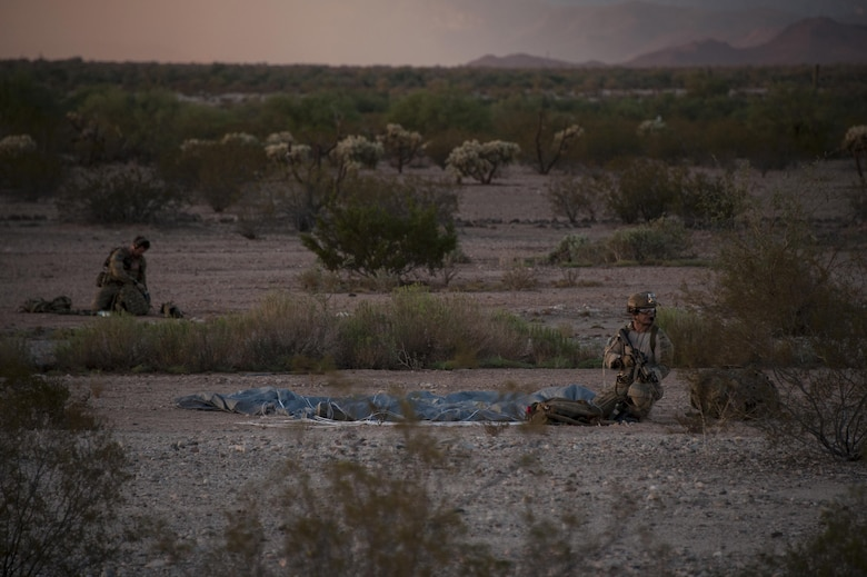 A Combat Leaders Course student provides overwatch during training in Florence, Ariz., Aug. 31, 2016. The students participated in scenarios including a jump mission with an overland movement, a mass casualty and a technical rescue with the rotary wing exfiltration all within the climates of southern Arizona and California. (U.S. Air Force photo by Airman 1st Class Mya M. Crosby)