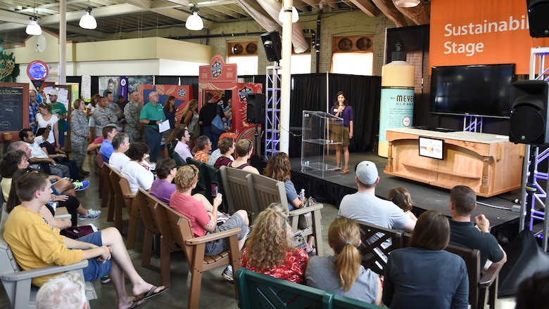 A small crowd gathers at the Minnesota State Fair to hear the finalist read for the Clean Energy Community Award on Sunday, August 28th, 2016.