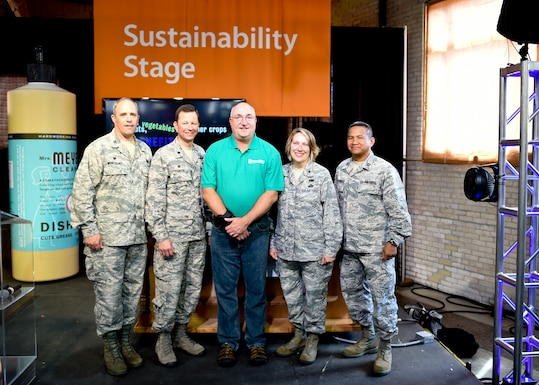 (from left to right) Col James Wentzlaff, Mission Support Group Commander, Lt. Col. Mike Piontek, 133rd Civil Engineer Commander, Bill Grant, Deputy Commissioner of Energy and Telecommunications for the Minnesota Department of Commerce, Brig. Gen. Sandy Best, Chief of Staff with the Minnesota Air National Guard, Joint Force Headquarters and Capt Fernando Nacionales, Deputy Base Civil Engineer and Energy Manager of the 133rd Civil Engineering Squadron pose for a picture after the official announcement of the finalist for the Clean Energy Community Award.  The announcement was made at the Sustainability Stage at the Minnesota State Fair in Minneapolis on Sunday, Aug 28, 2016.