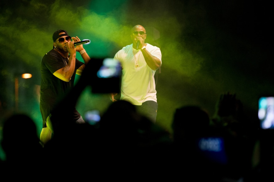 Nelly (left) performs at Osan Air Base, Republic of Korea, Sept. 3, 2016. The concert was sponsored by Armed Forces Entertainment to provide entertainment to the base. (U.S. Air Force photo by Staff Sgt. Jonathan Steffen)