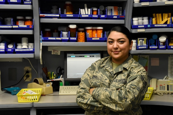 Senior Airman Bianca Mares, 4th Medical Support Squadron pharmacy technician assures all prescription medicine is inventoried and dispersed according doctor's orders September 9, 2016 at Seymour Johnson Air Force Base, N.C. Mares has been stationed at Seymour Johnson AFB for two years. (U.S. Air Force photo by Airman Miranda A. Loera)