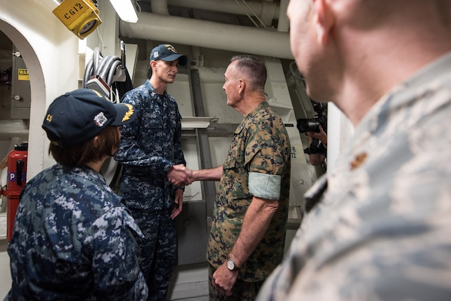 Marine Corps Gen. Joe Dunford, chairman of the Joint Chiefs of Staff, visits the crew aboard the Arleigh Burke-class guided missile destroyer USS Barry in Yokosuka, Japan, Sept. 7, 2016. DoD photo by Army Sgt. James K. McCann