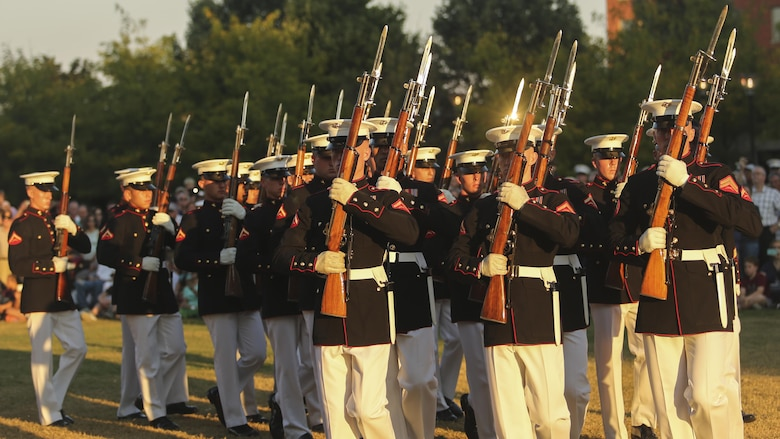 The Marine Corps Silent Drill Platoon performs during the opening ceremony of Marine Week Nashville in Nashville, Tenn., Sept. 7, 2016. Marine Week Nashville is an opportunity for the people of the greater Nashville area to meet Marines and learn about Corps' history, traditions and value to the nation.