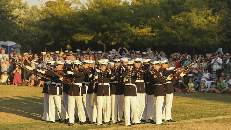 The Marine Corps Silent Drill Platoon performs during the opening ceremony of Marine Week Nashville in Nashville, Tenn., Sept. 7, 2016. Marine Week is an opportunity to commemorate the unwavering support of the American people, and show the Marine Corps' dedication to protecting citizens of this country.