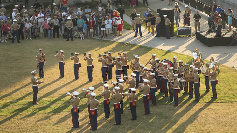 Members of Marine Band San Diego perform during the opening ceremony of Marine Week Nashville in Nashville, Tenn., Sept. 7, 2016. Marine Week Nashville is an opportunity for the people of the greater Nashville area to meet Marines and learn about Corps' history, traditions and value to the nation.