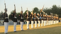 The Marine Corps Silent Drill Platoon performs during the opening ceremony of Marine Week Nashville in Nashville, Tenn., Sept. 7, 2016. Marine Week is a chance to reconnect our Marines, sailors, veterans and their families from different generations.