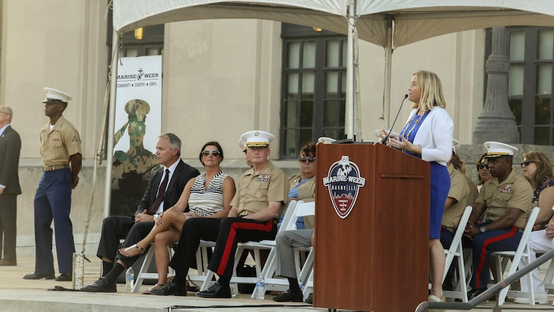 Megan Barry, the Mayor of Nashville, Tenn., offers remarks during the opening ceremony of Marine Week Nashville Sept. 7, 2016. Marine Week is an opportunity to showcase the Marines and help people understand the capabilities of the Marine Corps.