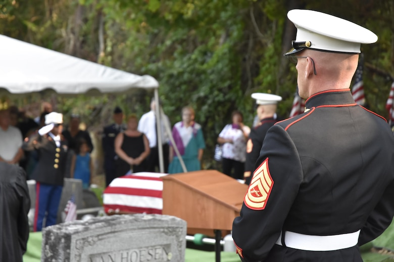 Pfc. George H. Traver was killed in action on Nov. 20, 1943. His body was one of many found earlier this year in the Gilbert Islands, just off the coast of Hawaii. The Marine Air Support Squadron 6 from Westover ARB, Mass. presided over the formal military funeral ceremony. (U.S. Air Force photo/ TSgt. Amelia Leonard)