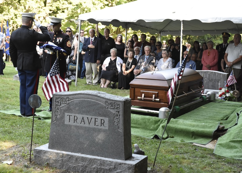 Pfc. George H. Traver was killed in action on Nov. 20, 1943. His body was one of many found earlier this year in the Gilbert Islands, just off the coast of Hawaii. The Marine Air Support Squadron 6 from Westover ARB, Mass. presided over the formal military funeral ceremony and presented his nephew, David Silliman, with a United States flag in his honor. (U.S. Air Force photo/ TSgt. Amelia Leonard)