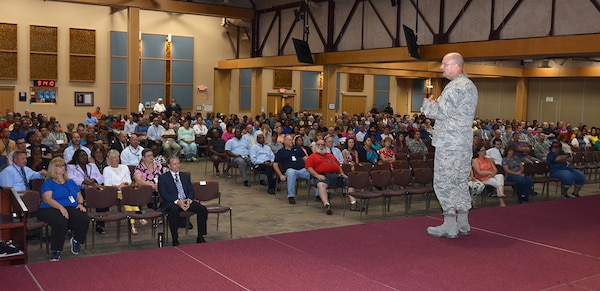 "During a Safety Town Hall Sept. 6, 2016 in the Lotts Conference Center, Defense Logistics Agency Aviation Commander Air Force Brig. Gen. Allan Day tells employees, we are ready, so ""tune it up and shine it up"" in preparation of next week's visit by Occupational Safety and Health Administration's Voluntary Protection Programs evaluation team. The team will be evaluating the center's safety program and determining whether it rates OSHA Star status."