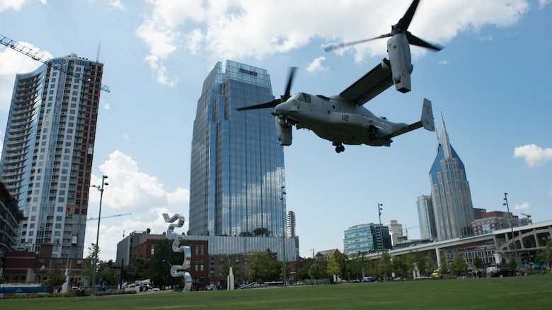 A Bell Boeing V-22 Osprey lands at Riverfront Park in Nashville. Tenn., on Sept. 6, 2016, as part of Marine Week. The equipment will be set up as static displays at Riverfront Park for access to the general public throughout the week. Marine Week is the Marine Corps' largest annual community outreach project and this year marks the seventh year of the event.