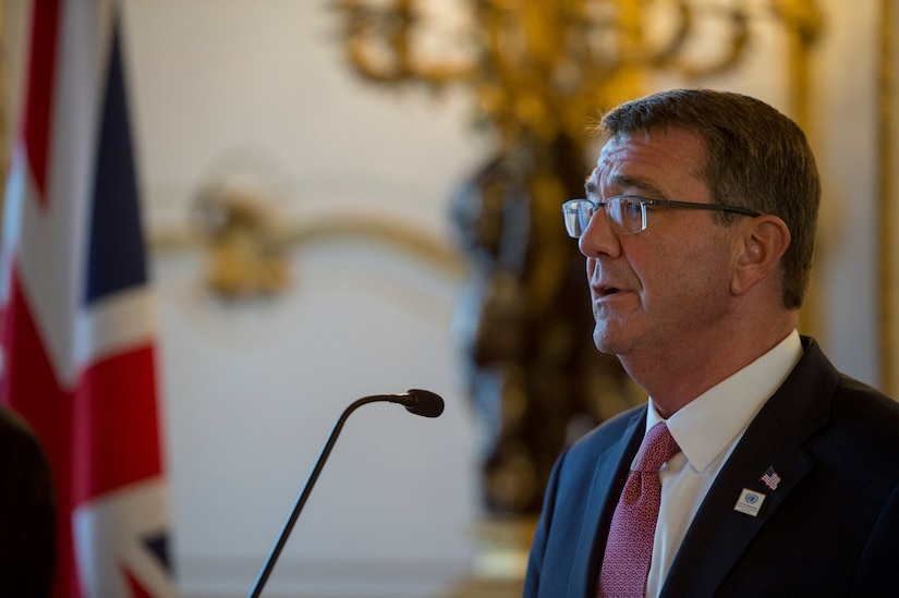 Defense Secretary Ash Carter hosts a joint press conference with the United Kingdom's Secretary of State for Defence Michael Fallon at Lancaster House in London, England, Sept. 7, 2016. DoD photo by Air Force Tech. Sgt. Brigitte N. Brantley