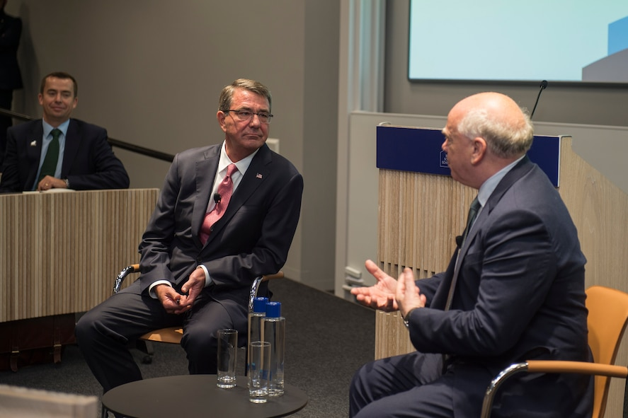 Defense Secretary Ash Carter answers questions from Sir Lawrence Freedman, visiting professor, after delivering his speech at the Blavatnik School of Government at Oxford University.