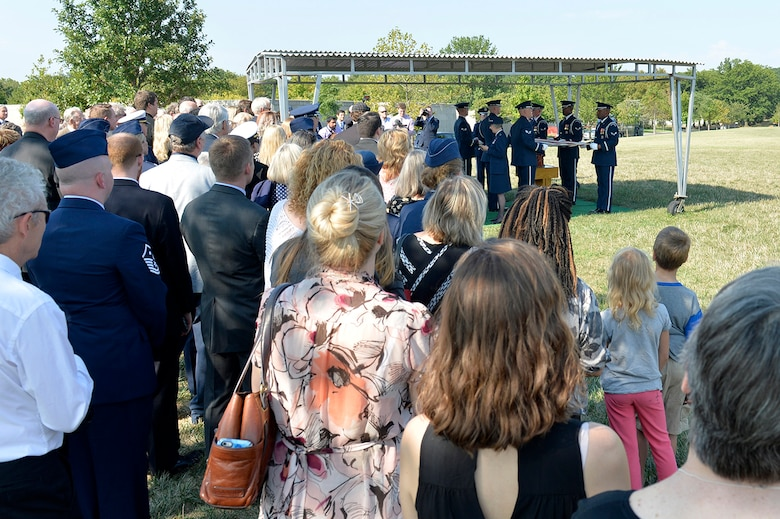Family and friends pay their respects as 2nd Lt. Elaine Harmon, one of the original Women Airforce Service Pilots, is laid to rest at Arlington National Cemetery, Va., Sept. 7, 2016. Harmon died April 21, 2015, at the age of 95. (U.S. Air Force photo/Staff Sgt. Whitney Stanfield)