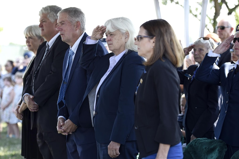 The family of one of 2nd Lt. Elaine Harmon, an original Women Airforce Service Pilot, stand during a ceremony held in her honor at Alrington National Cemetery, Va., Sept. 7, 2016. Harmon died in 2015 at the age of 95. (U.S. Air Force photo/Staff Sgt. Alyssa C. Gibson)