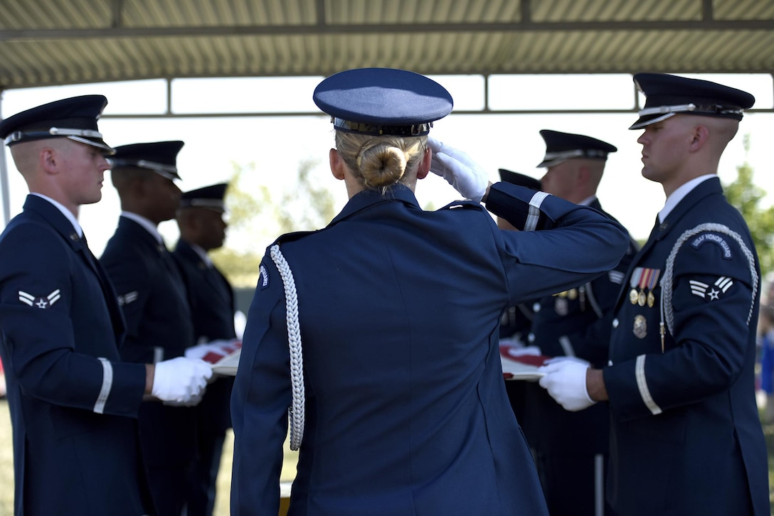 Members of the U.S. Air Force Honor Guard provide full military honors for the late 2nd Lt. Elanie Harmon, one of the original Women Airforce Service Pilots, during a ceremony held in her honor at Alrington National Cemetery, Va., Sept. 7, 2016. Harmon died in 2015 at the age of 95. (U.S. Air Force photo/Staff Sgt. Alyssa C. Gibson)