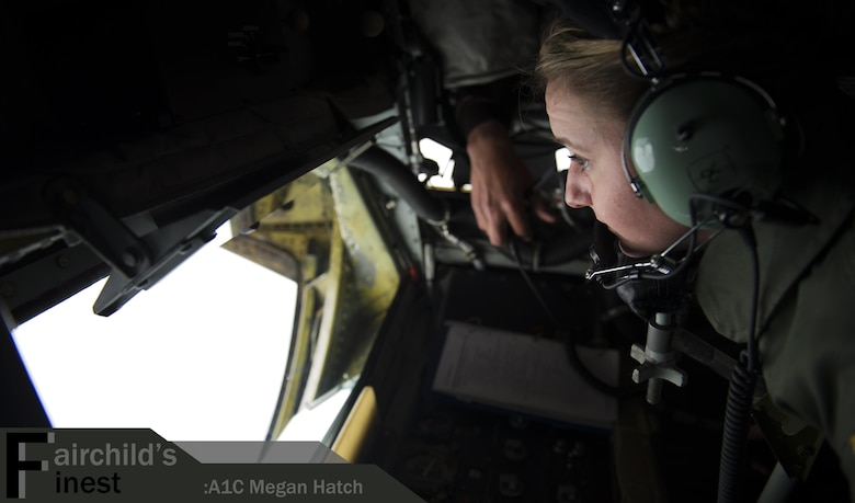 Airman 1st Class Megan Hatch, 93rd Air Refueling Squadron boom operator, refuels an airplane April 5, 2016, over Washington State. Her leadership selected her as one of Fairchild's Finest, a weekly recognition program that highlights top-performing Airmen. (U.S. Air Force photo/Airman 1st Class Sean Campbell)