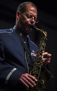 Master Sgt. Andrew Axelrad, U.S. Air Force Band's Airmen of Note alto saxophonist, performs at North Central College's Pfeiffer Hall in Naperville, Ill., Sept. 2, 2016. Naperville, a suburb of Chicago, is only a few miles away from where Axelrad grew up and learned to play the saxophone. (U.S. Air Force photo by Senior Airman Philip Bryant)