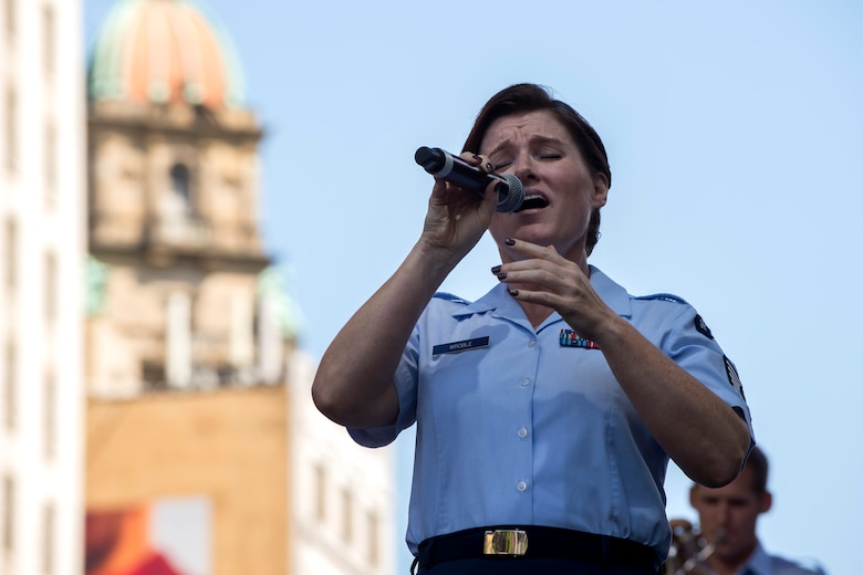 Tech. Sgt. Paige Wroble, U.S. Air Force Band's Airmen of Note vocalist, performs during the Detroit International Jazz Festival in Detroit, Mich., Sept. 4, 2016. This marked the third time since 2012 that the Airmen of Note have performed at the Detroit International Jazz Festival. (U.S. Air Force photo by Senior Airman Philip Bryant)