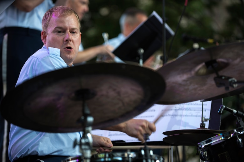 Tech. Sgt. David McDonald, U.S. Air Force Band's Airmen of Note drummer, performs during the Detroit International Jazz Festival in Detroit, Mich., Sept. 4, 2016. The Airmen of Note were one of 29 performances at the Detroit International Jazz Festival. (U.S. Air Force photo by Senior Airman Philip Bryant)