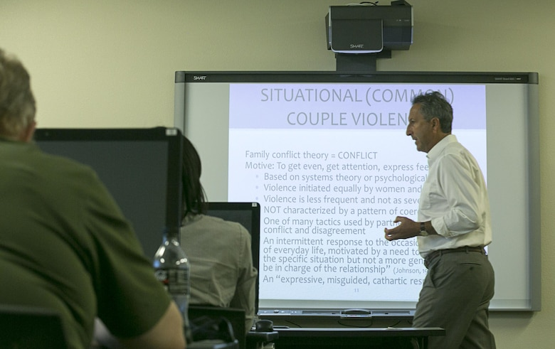 David Wexler, clinical psychologist and executive director, Relationship Training Institute San Diego, gives a lecture on different reasons domestic violence takes place within relationships during his Skills, Techniques, Options and Plans training program at the Education Center, Aug. 17, 2016. (Official Marine Corps photo by Cpl. Thomas Mudd/Released)