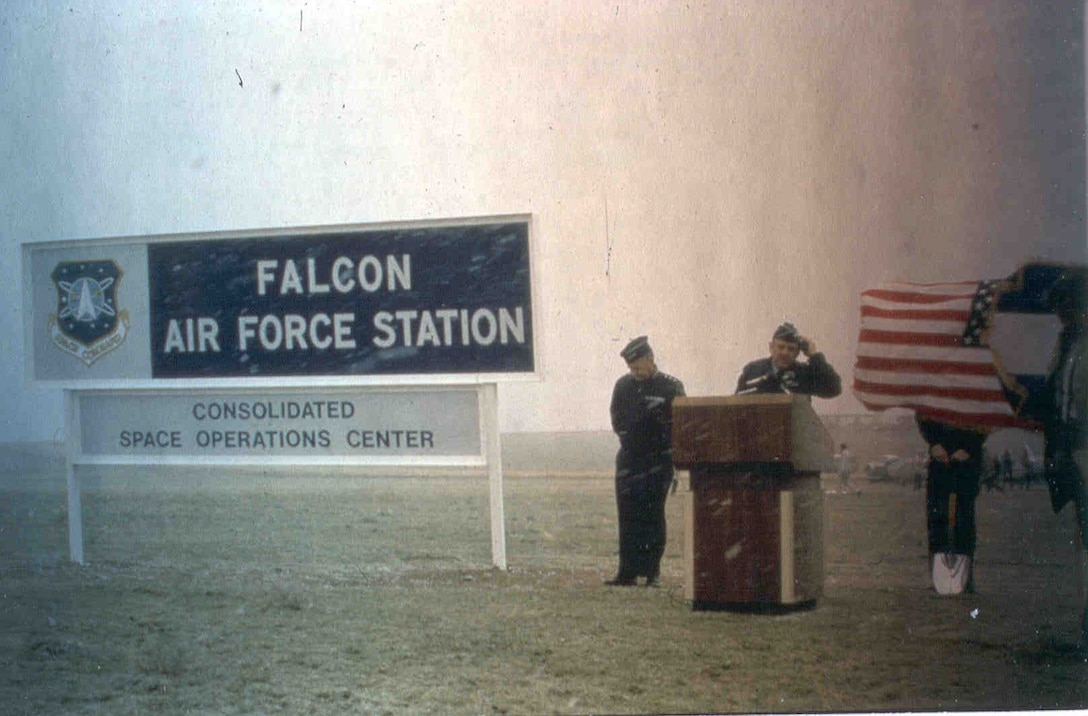 Falcon Air Force Station leadership speak in unfavorable weather conditions in the days when Schriever was named after a nearby town and was small enough to be classified as a station. It wasn't until June 13, 1988, that Falcon AFS was renamed Falcon Air Force Base due to continual growth. (Schriever archives)